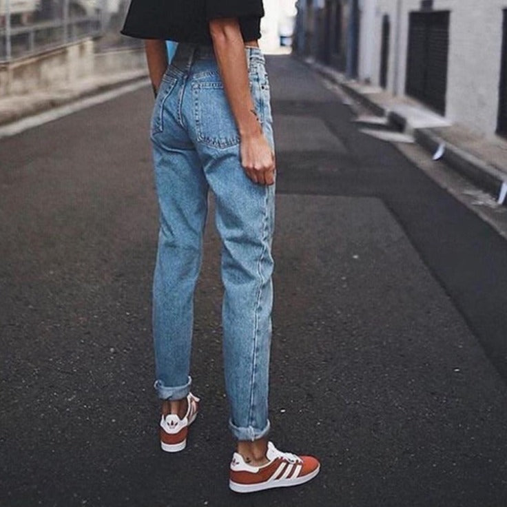 Sexy blue high waisted Vintage ladies boyfriend streetwear jeans for women - Gaby.shop