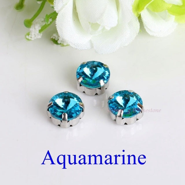 Satellite / Round Shape Glass Rhinestones With Claw Sew On Crystal Stone Strass Diamond Metal Base Buckle For Clothes