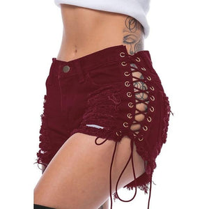 Women Sexy Club Skinny Lace Up Mid Waist Hole Rivet Button Fly Black Short Jeans - Gaby.shop
