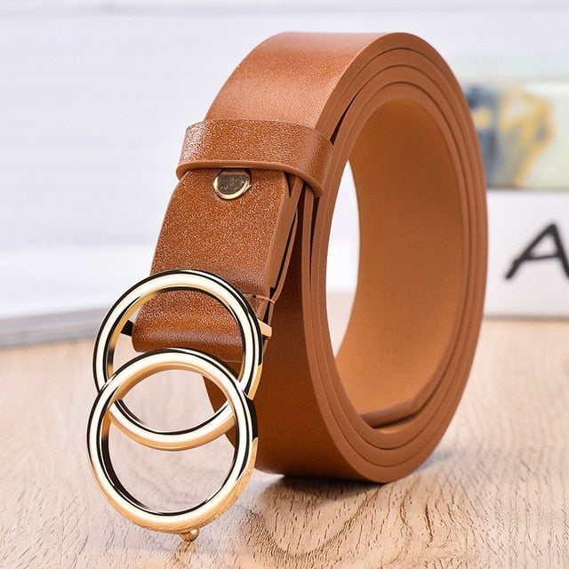 Luxury Designer Double ring alloy pin buckle Belts for women - Gaby.shop