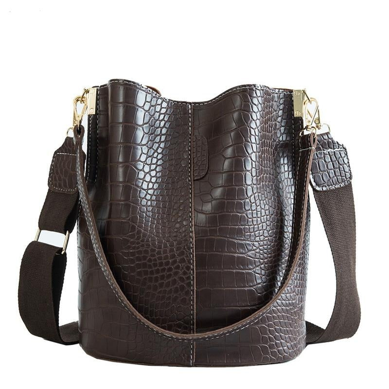 Crocodile Crossbody Bag For Women Luxury Shoulder Bag Brand Designer Women PU Leather Bucket Bag - Gaby.shop