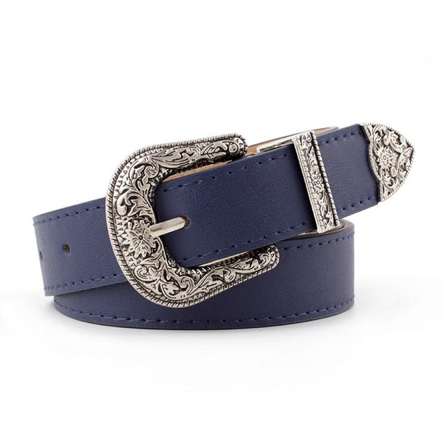 Hup Women Black Leather Western Cowgirl Waist Belt Metal Buckle Waistband - Gaby.shop