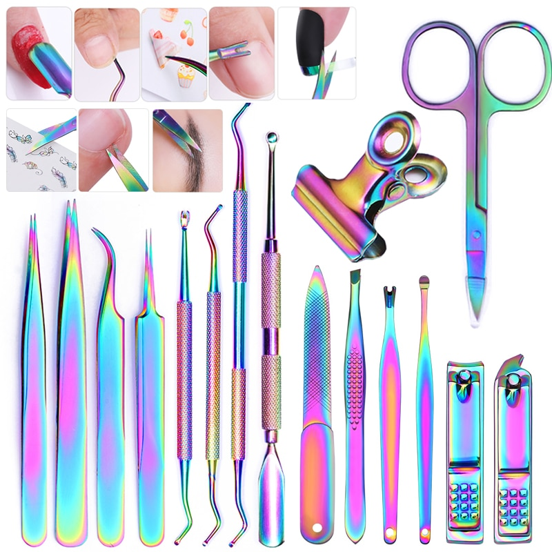 Colorful Cuticle Pusher Tweezer Stainless Steel Cuticle Trimmer Dead Skin Nails Pusher Tools UV Gel Polish Clean Tools - Gaby.shop