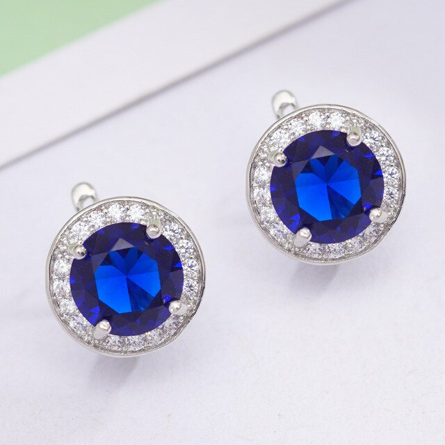 6 Colors Fashion Circle Earrings Round Cubic Zirconia Classic Hoop Earrings for Women