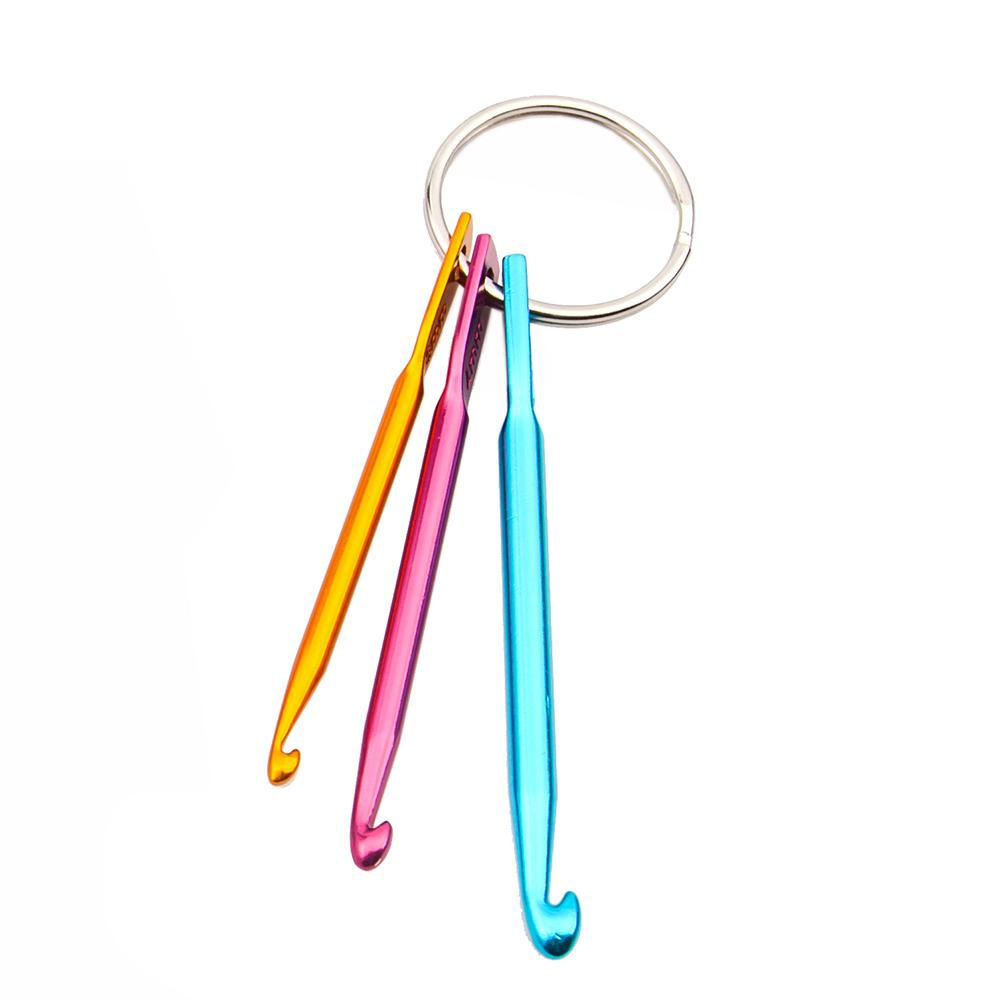 3PCS 3/4/5mm Aluminum Knitting Needles Crochet Hook Weave Crochet Needles Key Chain Ring - Gaby.shop