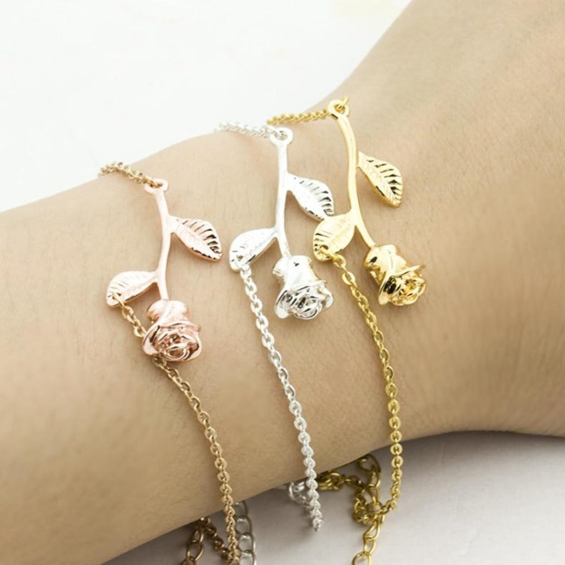 Pink Gold Rose Flower Statement Bracelet For Women Jewelry Christmas Gift