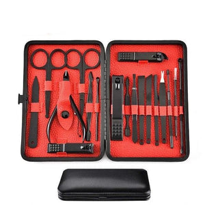 Manicure Set, 18 In 1 Stainless Steel Professional Pedicure Kit with Black Leather Travel Case - Gaby.shop
