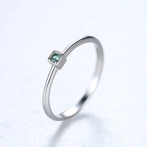 Genuine 925 Sterling Silver VVS Green Topaz Wedding Rings for Women Minimalist Thin Circle Gem Rings Jewelry Carving S925