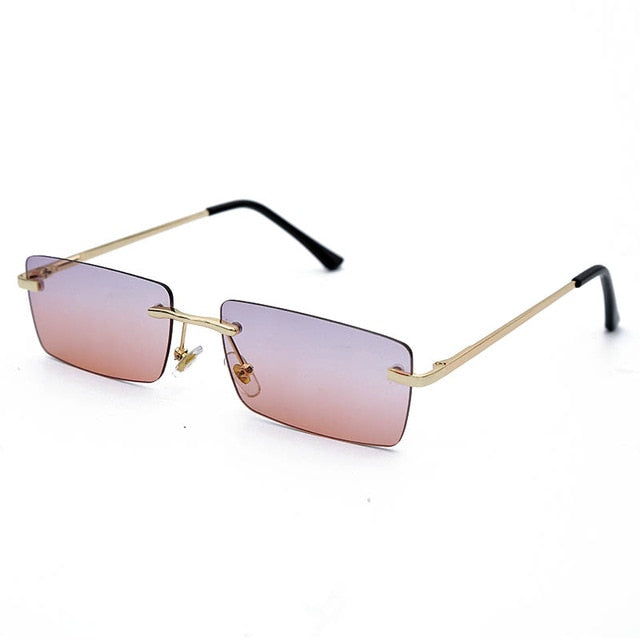 Rectangle Rimless Sunglasses Women Square Vintage Sunglasses Brand Designer - Gaby.shop