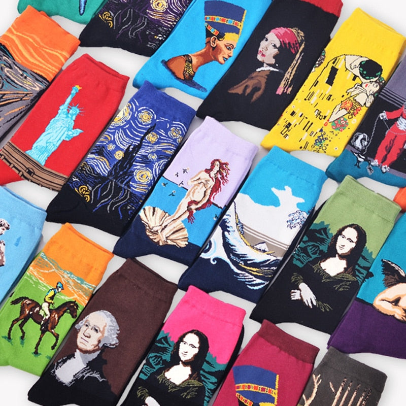 Starry Night Winter Retro Women Personality Art Van Gogh Mona Lisa Famous Painting Men Socks Oil Funny Happy Socks