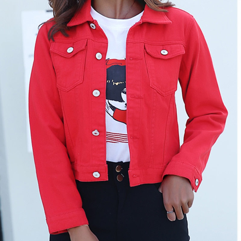 Jeans Jacket and Coats for Women 2020 Autumn Candy Color Casual Short Denim Jacket - Gaby.shop