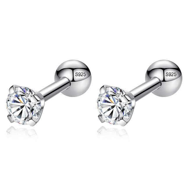 Zircon Crystal Round Small Stud Earrings Wedding 925 Sterling Silver Earring for Women Girls Fashion Jewelry Gift