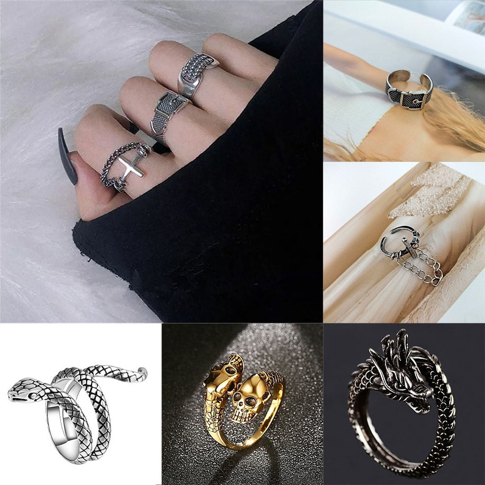 2020 punk hip hop adjustable black ring simple geometric cross multilayer goth ring man women dating party jewelry gifts
