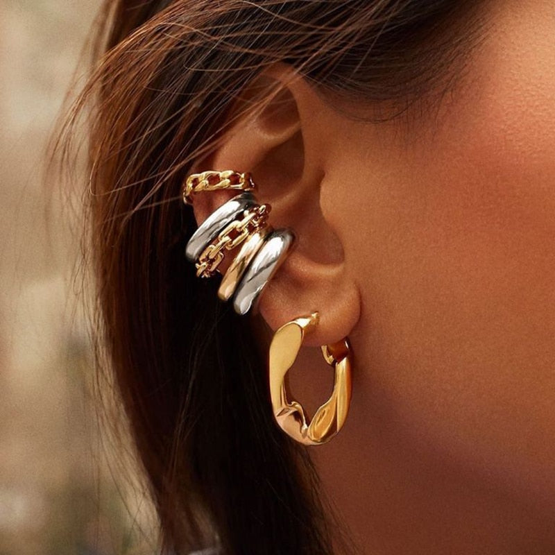 Punk Rock Gold Color Clip Earrings No Piercing Trendy Link Chain Ear Cuffs Statement Cartilage Earrings for Women Party Jewelry