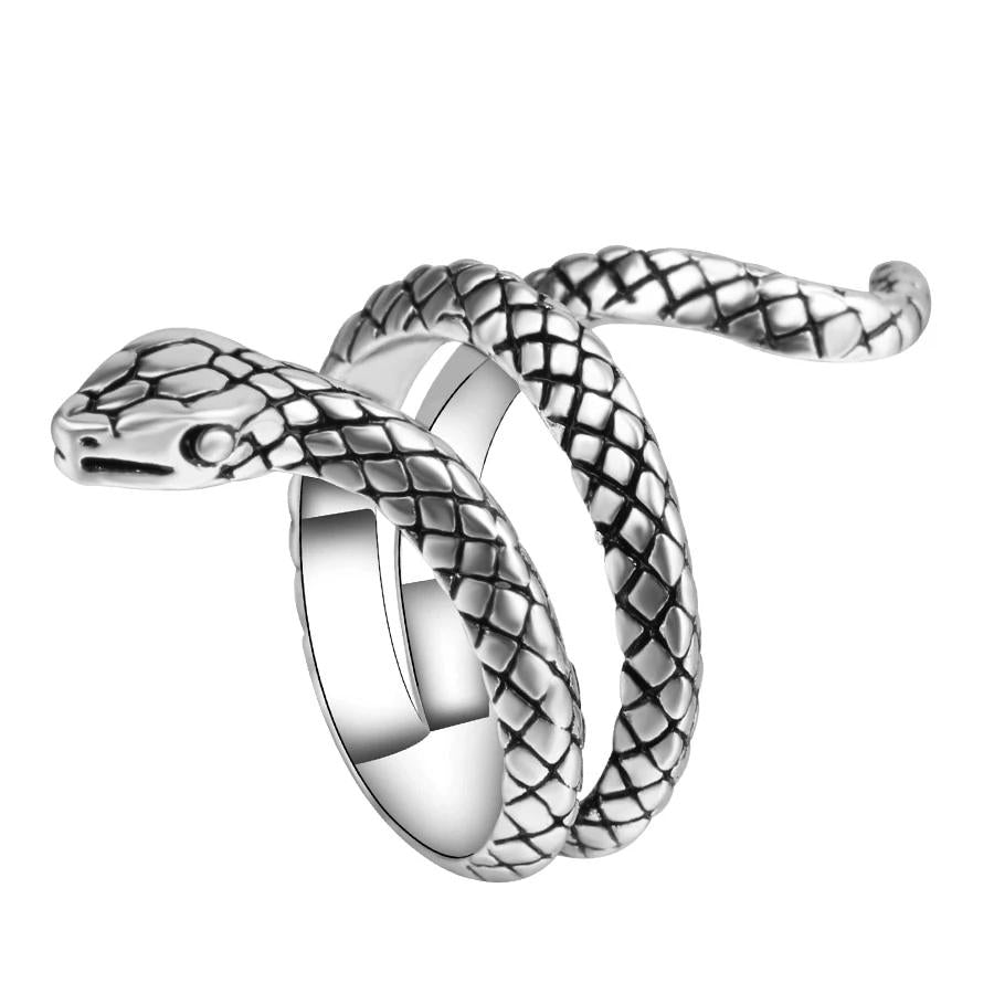 Snake Rings For Women Color Silver Heavy Metals Punk Rock Ring Animal Jewelry - Gaby.shop