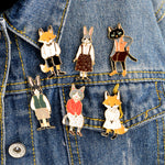 Pins and brooches Rabbit/Fox/Cat couple  Gift for lover - Gaby.shop