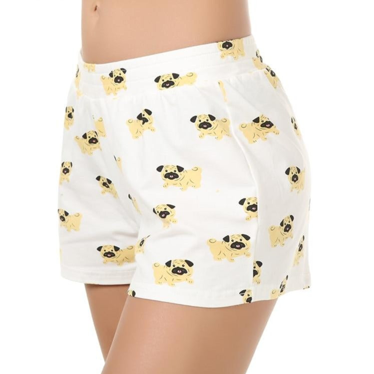 Cute Sleep Bottoms Shorts Women Pug Print Elastic Waist Cotton Blend Knitted Stretchy Loose Shorts Pajamas