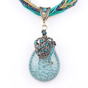 Blue natural crystal stone pendant necklace fashion peacock pendant necklace for women jewelry - Gaby.shop