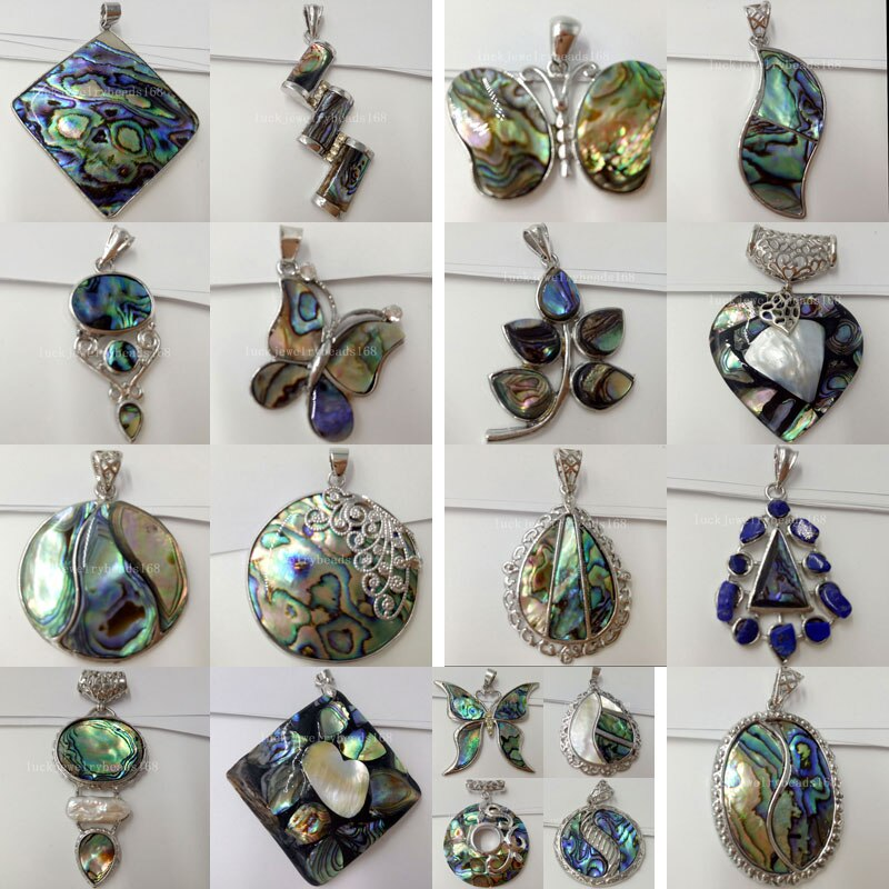 New Zealand Blue Abalone Shell Oblong Oval Butterfly Heart Art Round Square Water Drop Leaf Pendant Bead