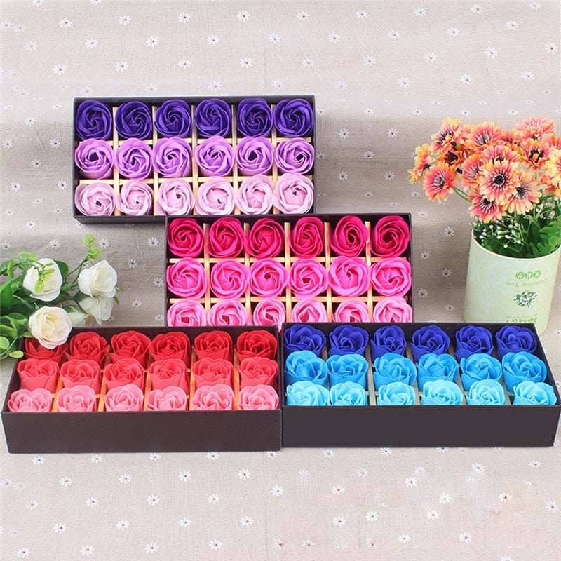 18Pcs Scented Rose Flower Petal Bath Body Soap Wedding Party Gift - Gaby.shop