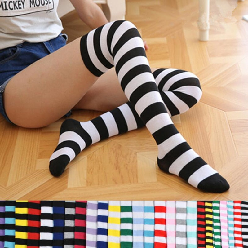 Fashion Cute Women Girls Kawaii Lolita Cotton Long Striped Thigh High Stocking Anime Cosplay Over Knee Socks - Gaby.shop