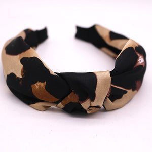 Bohemian Velvet Ladies ethnic Geometric Leopard Pattern Knotted Hairband - Gaby.shop