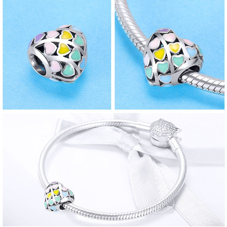 Romantic 925 Sterling Silver Rainbow Heart Charms 2019 - Gaby.shop
