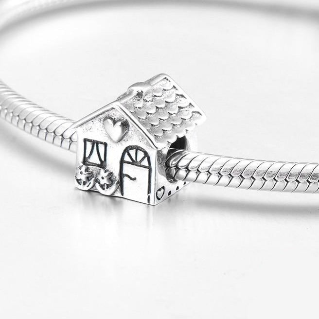 Lovely SWEET HOME house 925 Sterling Silver DIY gift fine beads Fit Original Pandora Charm Bracelet - Gaby.shop