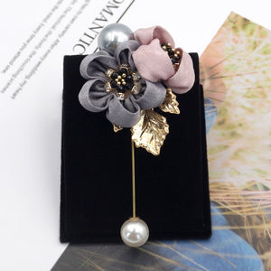 Ladies Pearl Fabric Flower Brooch Pin  Badge Accessories - Gaby.shop