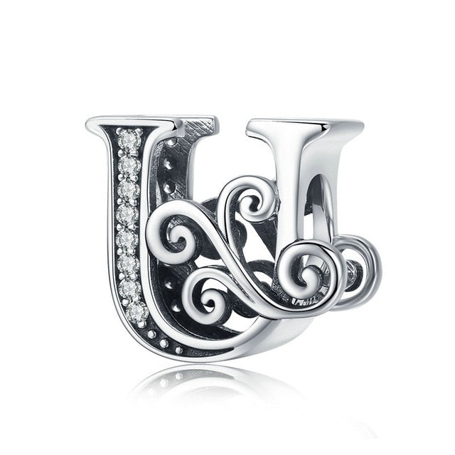 NEW 925 Sterling Silver Vintage A to Z Clear CZ 26 Letter Alphabe Bead Charms - Gaby.shop
