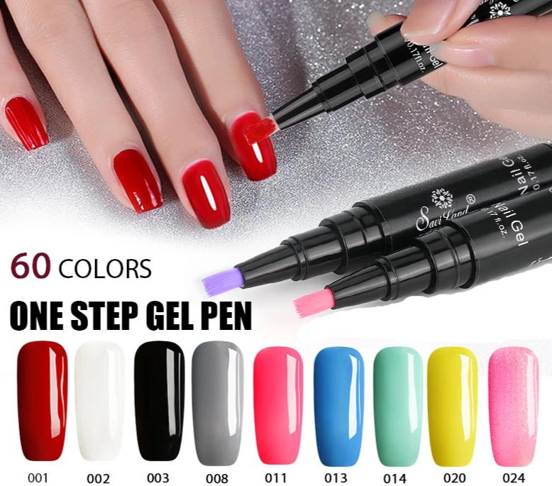 Newest 3 In 1 Gel Nail Varnish Pen Glitter One Step Nail Art Gel Polish Hybrid - Gaby.shop