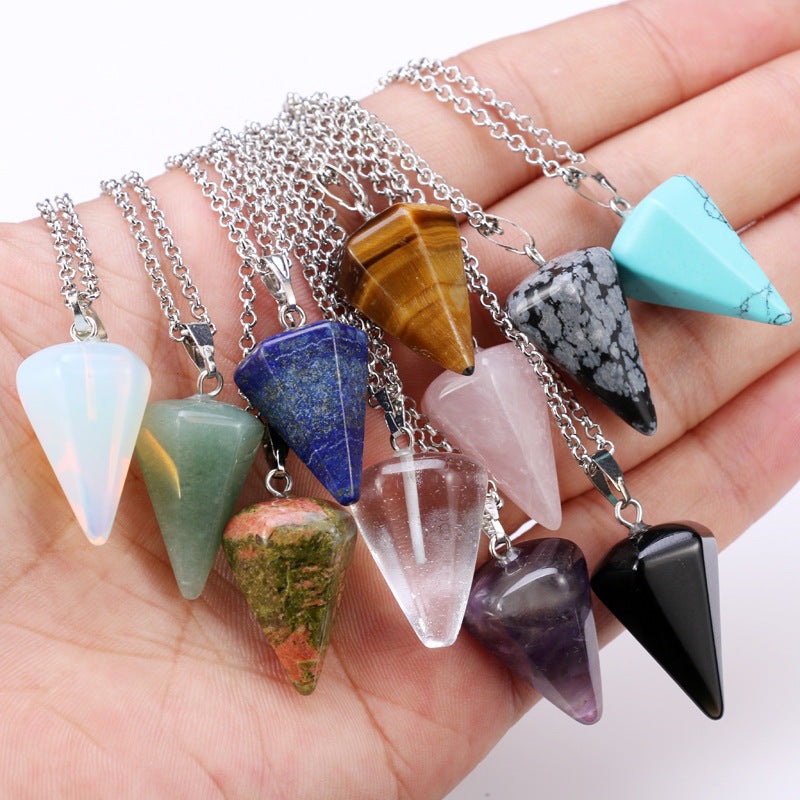 Natural Quartz Crystal Energy Healing Point Reiki Chakra Cut Gemstones Pendant Necklace With Metal Chain Crystal Stone Decor - Gaby.shop