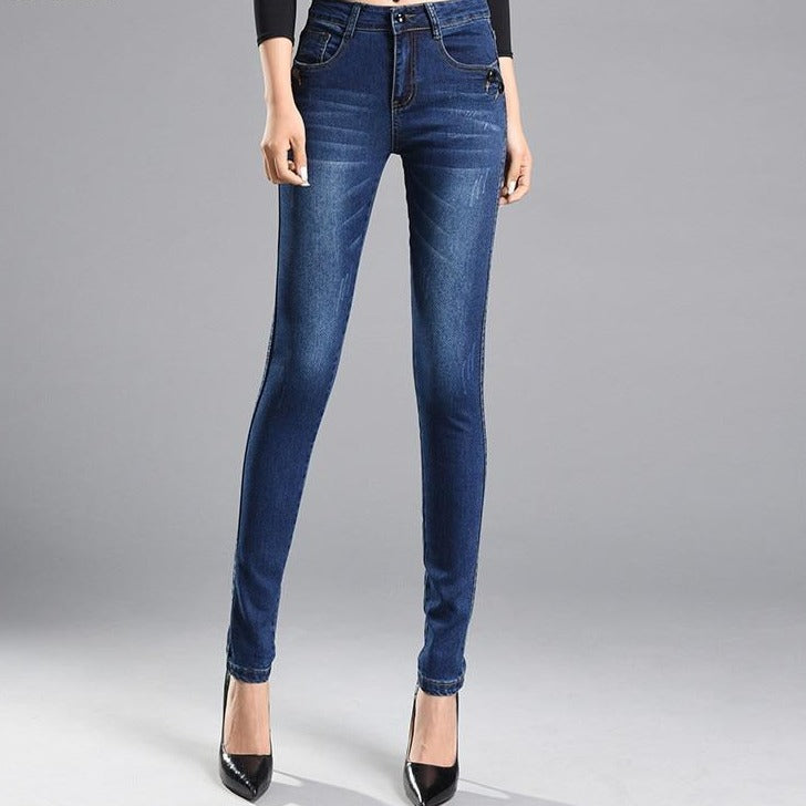 Slim Pencil Pants Vintage High Waist Jeans Plus Size Womens Jeans Denim Pants - Gaby.shop