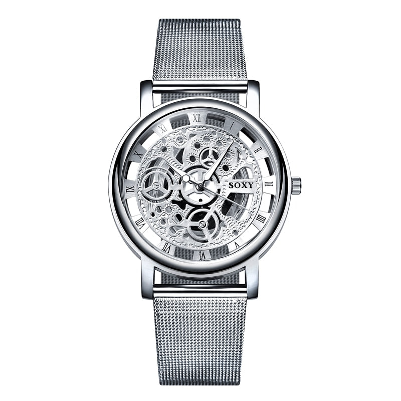 Skeleton Wrist Watch Men Simple Style Mesh Belt Men Women Unisex Quartz Watches - Gaby.shop