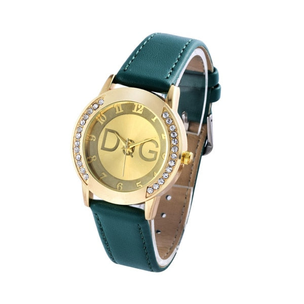 New Fashion Brand Leather Quartz Watch Hodinky Women Rhinestone Dress Watches - Gaby.shop