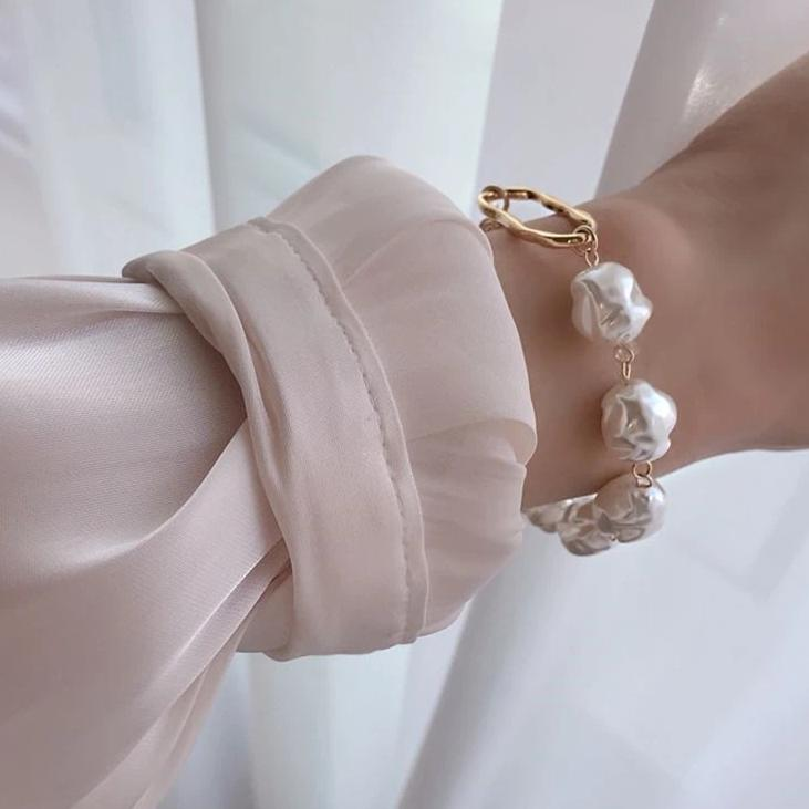 New Baroque Irregular Imitation Pearls Gold Metal Link Chain Bracelets for Women Girl Summer Party Jewelry - Gaby.shop