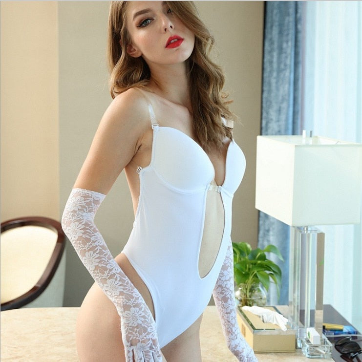 Woman Deep V Bodysuit Clear Strap Backless Plunge Thong Push Up padded Bra Body Shaper Suit Convertible Seamless Low Back - Gaby.shop
