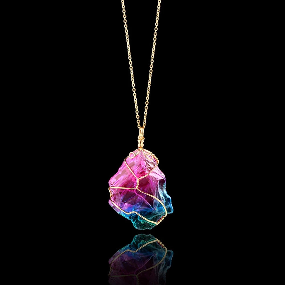 Mood Changing Stone Necklace Irregular Natural Crystal Chakra Rock Colorful Stone Quartz Pendant Necklace - Gaby.shop