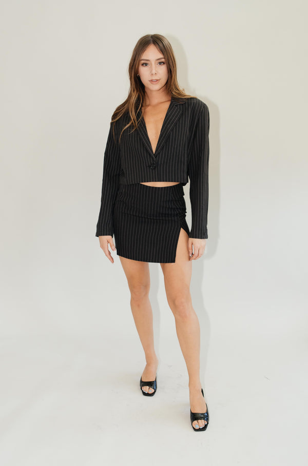 Sheny Skirt // Black Pinstripe