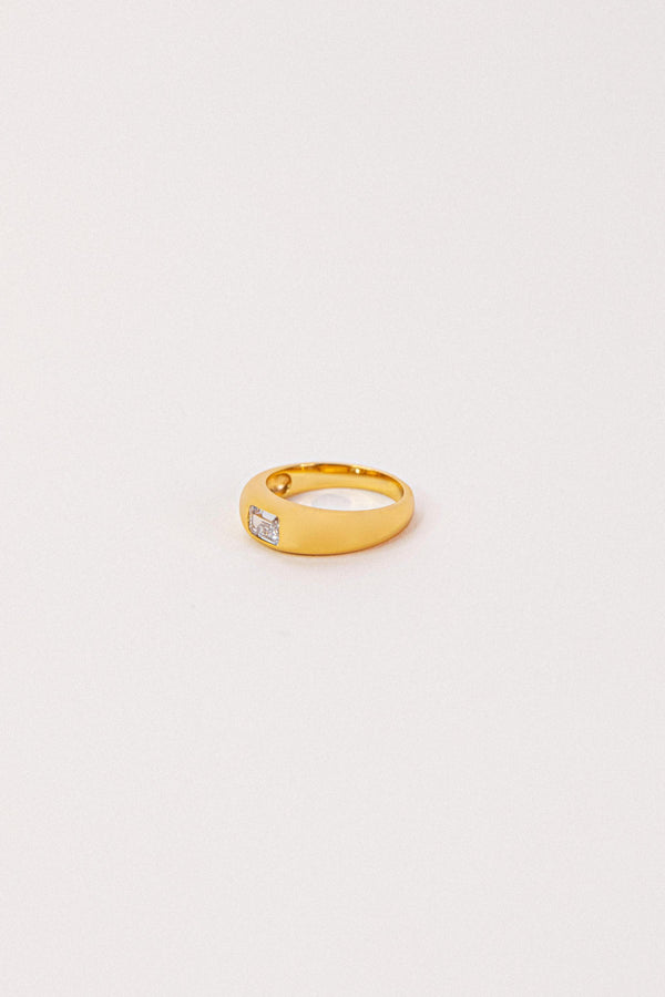 Baguette Stone Dome Ring