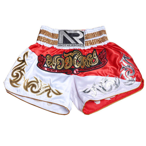 Short femme de Muay Thaï - Another Boxer - Blanc et Rouge - Thaï