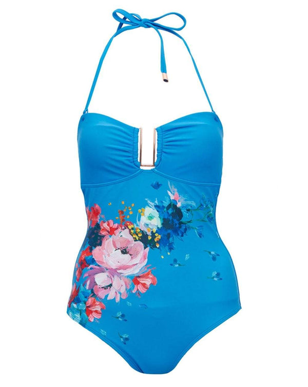 Blue Flower Pattern Swimsuit