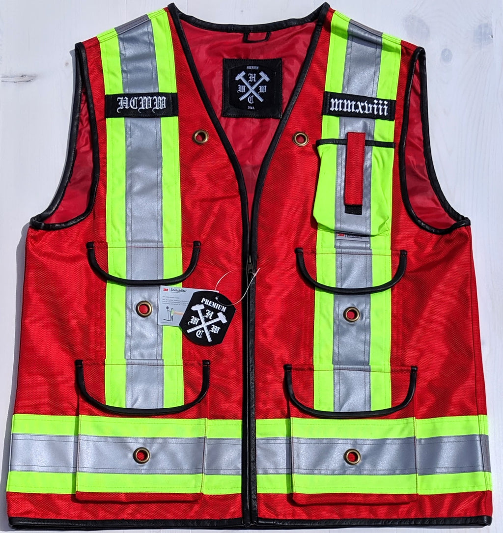 Premium Red Hi-Vis Safety Vest