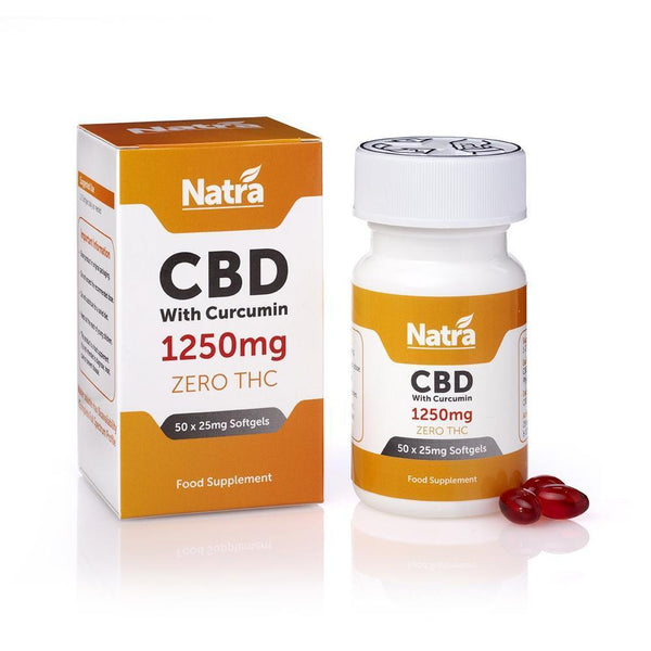 NATRA CBD - 1250mg GEL CAPSULES WITH CURCUMIN (50X25mg CAPSULES)