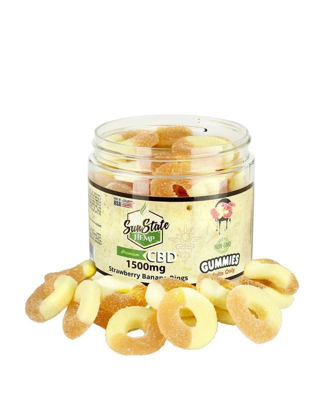 SUN STATE HEMP -  CBD GUMMIES -  CBD STRAWBERRY BANANA RINGS