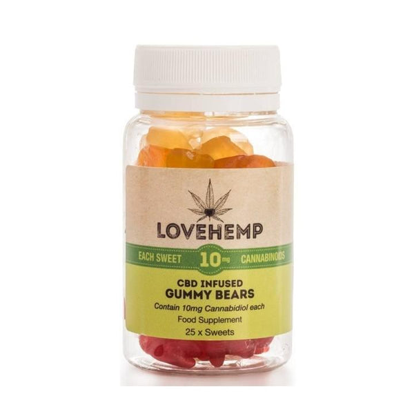 LOVE HEMP CBD GUMMY BEARS 250mg - JAR OF 25 x 10mg SWEETS