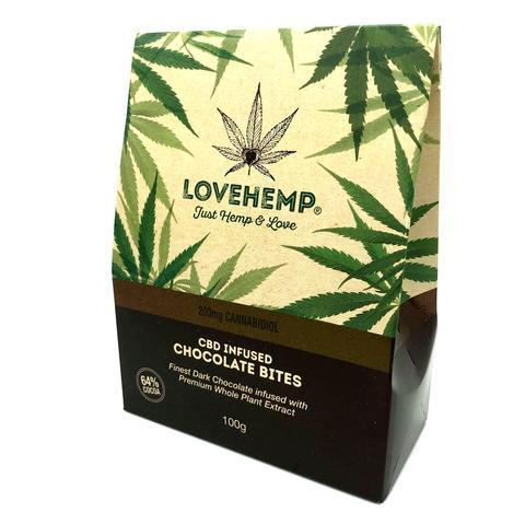 LOVE HEMP CBD INFUSED DARK CHOCOLATE BITES - 200mg (16mg PER BITE)