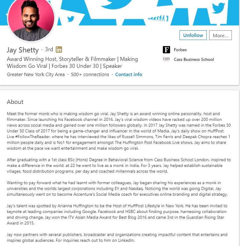 LinkedIn Bio Example - Jay Shetty