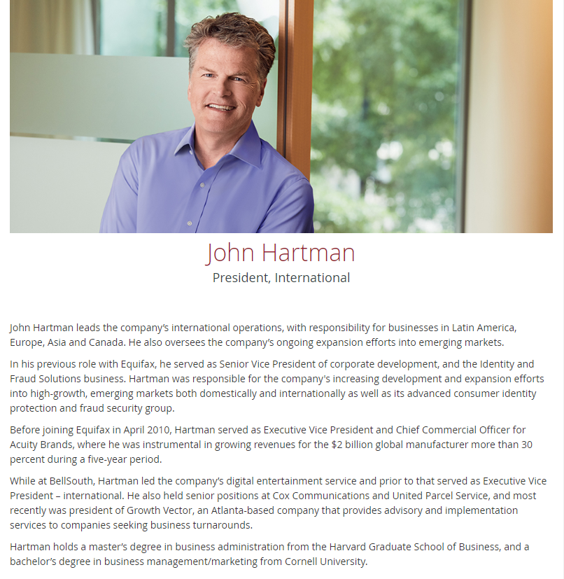 Executive Bio Sample - John Hartman