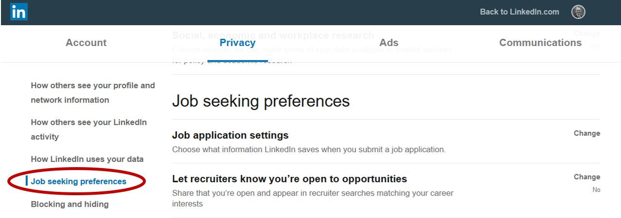 LinkedIn Job Seeking Preferences Privacy